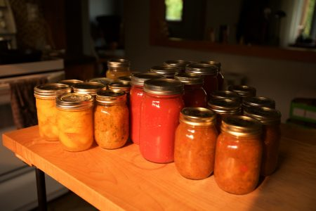 canned tomatoes and peaches